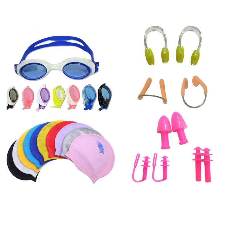 24bdb2391 Novos Designs Atacado Touca De natação de Silicone Óculos de Natação  Tampões de Ouvido Nariz Clipe
