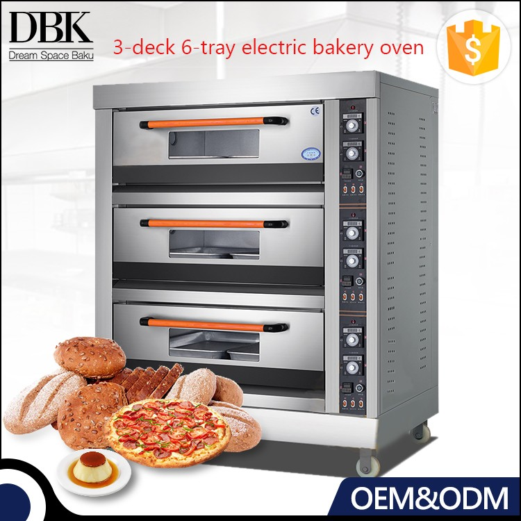 3-deck 6-tray electric italian bread oven bread baking oven pie bakery machinery price