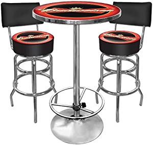 Budweiser Ultimate Gameroom Combo - 2 Bar Stools with Back & Pub Table