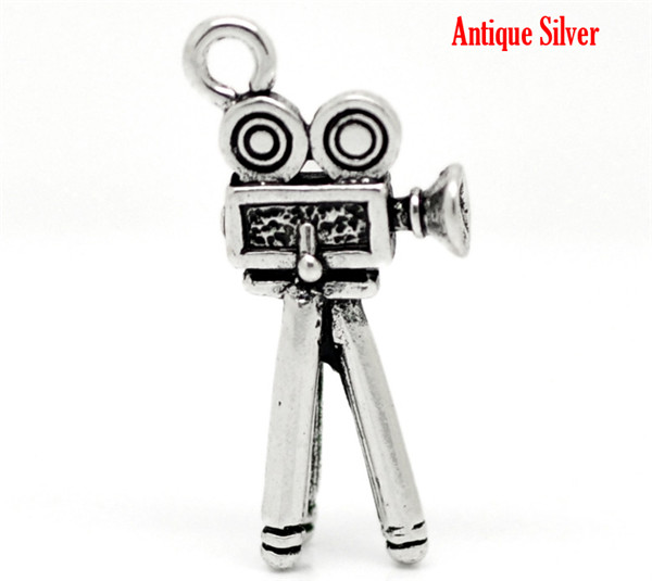 "Antique Silver Film Camera Charm Pendants 28mm x 12mm 1-1/8""x1/2"""