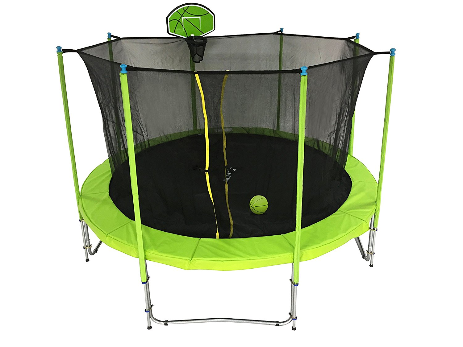 ExacMe Trampoline with Safety Pad, Inner Enclosure Net and Ladder Combo w/ Basketball Hoop and Ball; C-Series, Lime Green (12 Foot, 15 Foot)