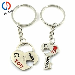 Alibaba Custom Cheap Metal Boy Girl Couple Keychain with Logo in China for the Wedding Gifts