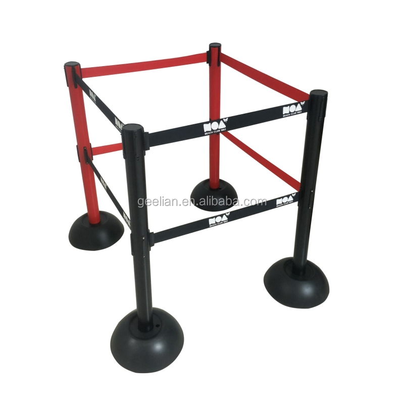 GEELIAN Portable Vehicle Pedestrian Safety Barrier/Cone Base Red Rope Queue Stanchion