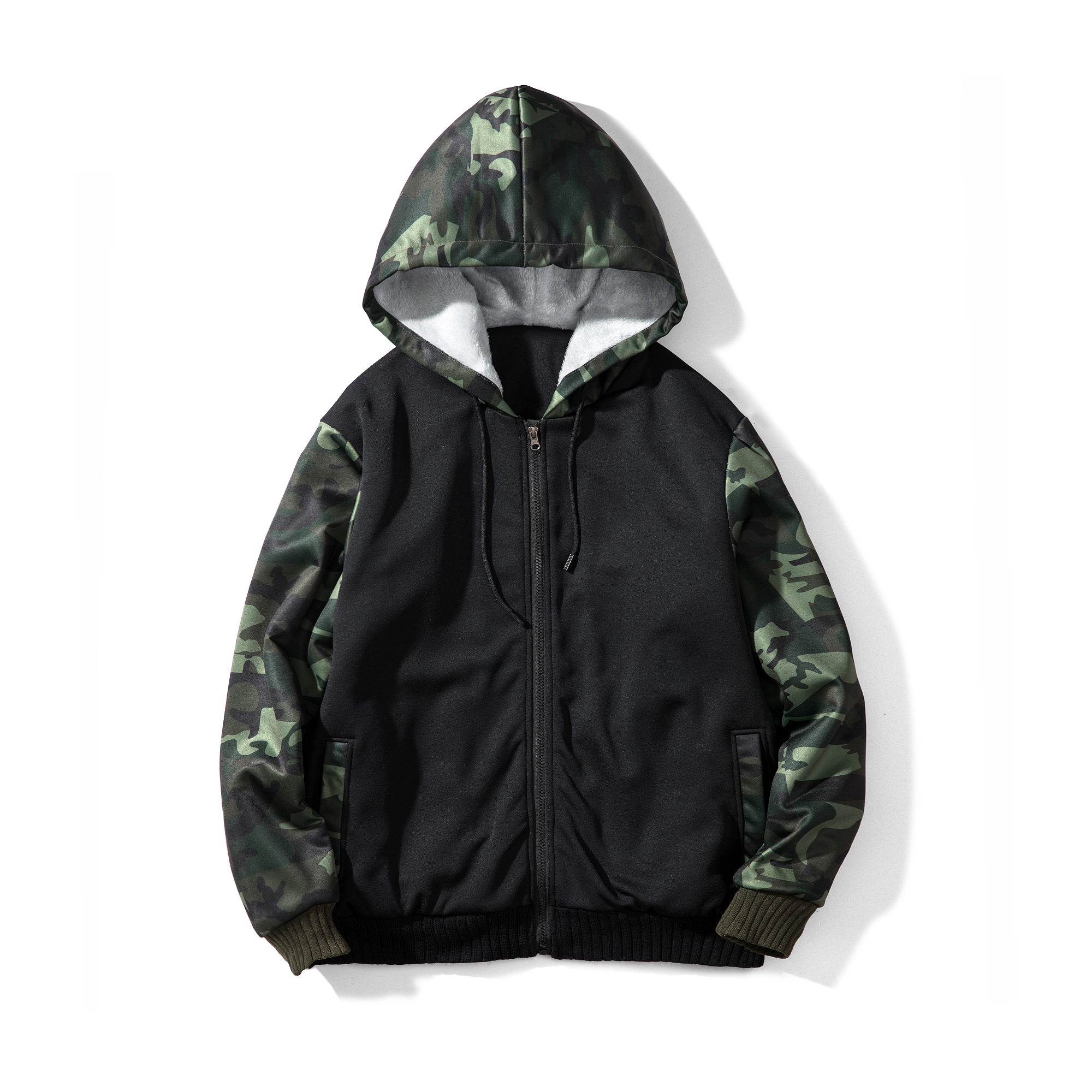 Wholesale oversized distressed color <strong>black</strong> custom camo zip <strong>hoodies</strong> <strong>men</strong>
