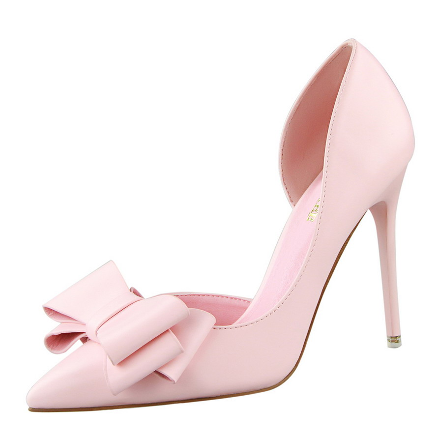 2018 New Bowknot Design Women Girl Sweet Stilettos Pointed Toe High Heel Pump Shoes for Ladies
