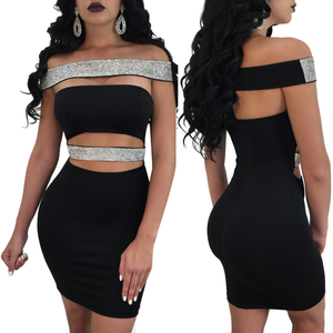 Smooth Black Bronzing Rubber Band Bodycon Dress Off Shoulder Women Outfits Dresses Online