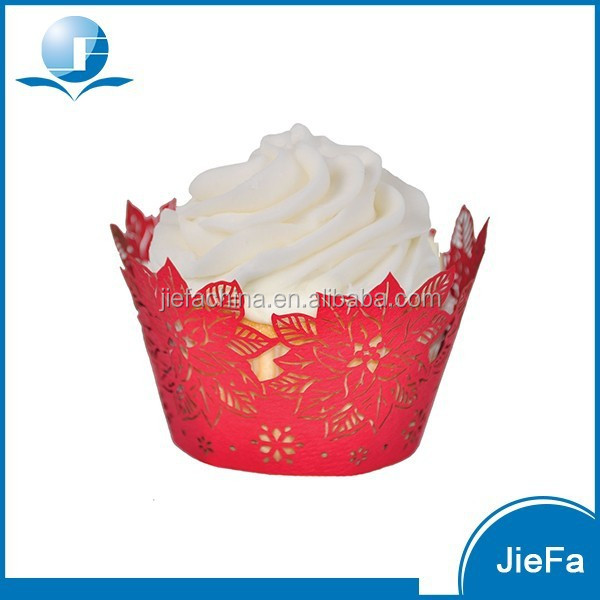 Flower Pattern And Red Color of Lace Cupcake Wrappers
