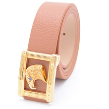 China manufacturer fashion slim lady cow hide leather electroplating eagle head image buckle belt