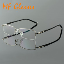 Metel Alloy Half Rim Optical Frame Prescription Men Rectangular Reading Eyeglasses Business Eye Glasses China Spectacle Frames