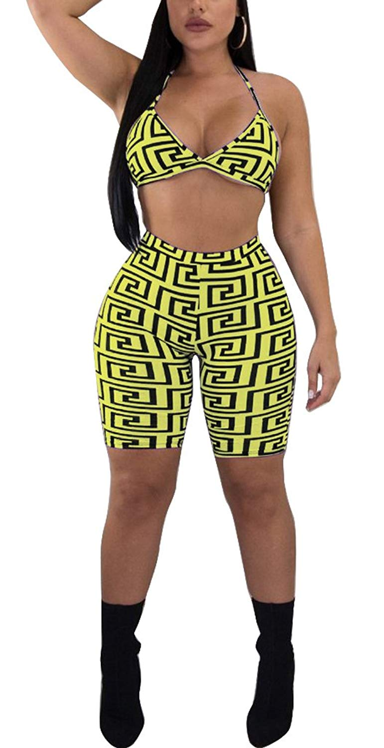 8a53054c3a9 Get Quotations · Womens Sexy 3Piece Outfits Bodycon Shorts Set and Floral  Print Strap Crop Top Summer Beach Club