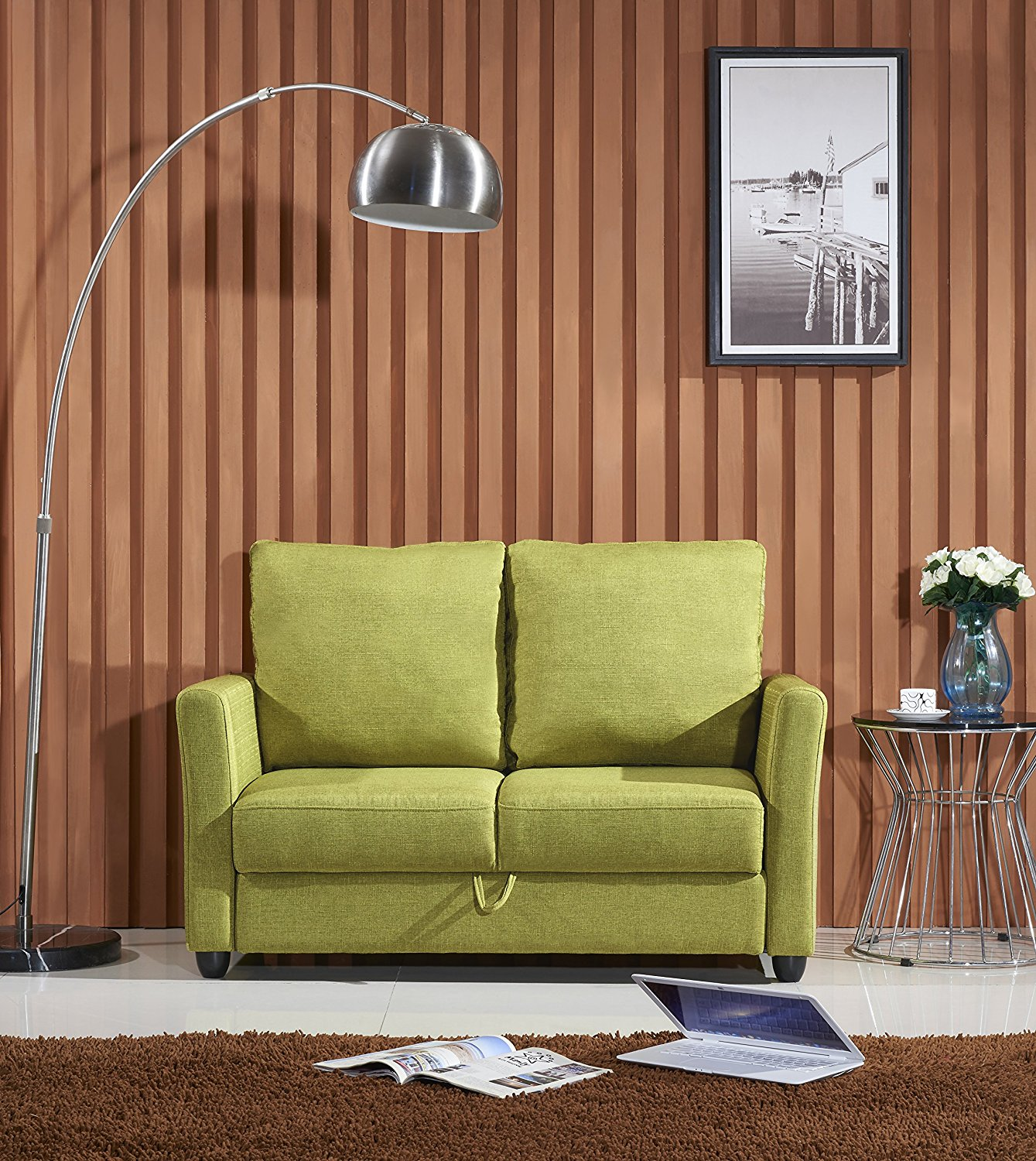 Container Furniture Direct Adia Collection Modern Fabric Upholstered Living Room Loveseat with Storage, Green