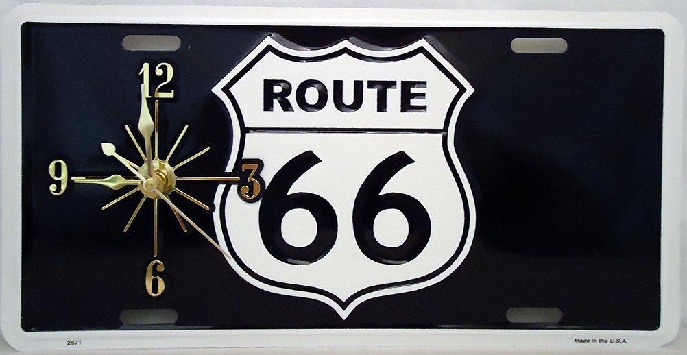 "1 , Mother Road, Quartz Clock, on a, "" ,ROUTE 66, "", Metal Sign,,27B5.3"