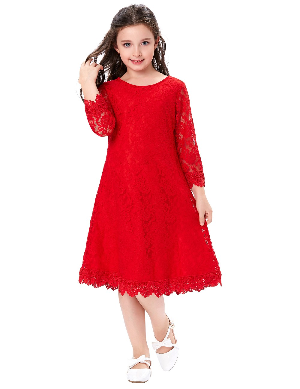 ec0f3f6ce4 Grace Karin Children Kids Girls 3 4 Sleeve Round Neck Flower Girl Dress Red  Lace Dress CL010442-2