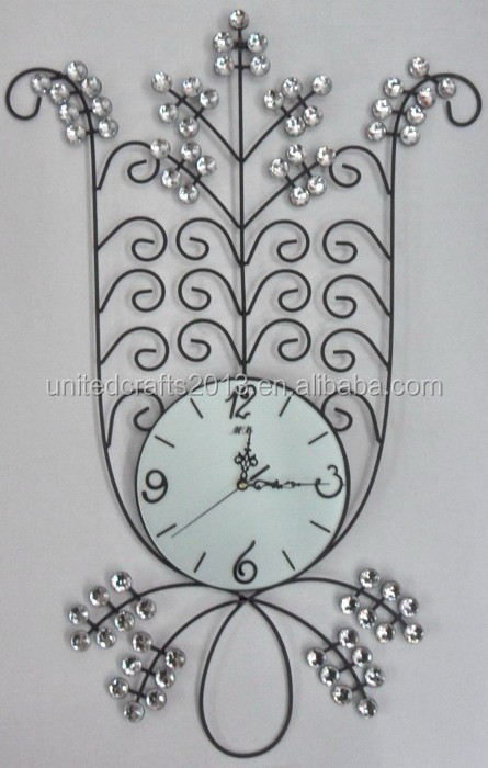 Special designs decorative home wall clocks crystal metal wall clock