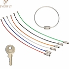 Wholesale screw lock stainless steel cable key ring keychain wire rope key ring