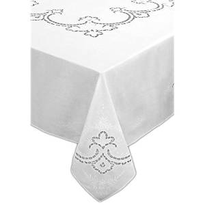 Clearance White 72x72/'/' Round Embroidered  Fruit Embroidery Tablecloth 8 Napkins