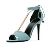 New Style Genuine Leather With Buckle Bandage High Heel Women Sandal Shoes