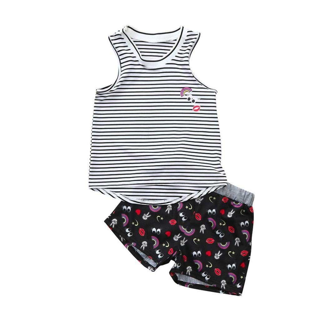 Kehen Kids Toddler Girls Boy Summer Clothes Casual Outfit Classic Striped Vest Tops T-Shirt with Printing Shorts Set