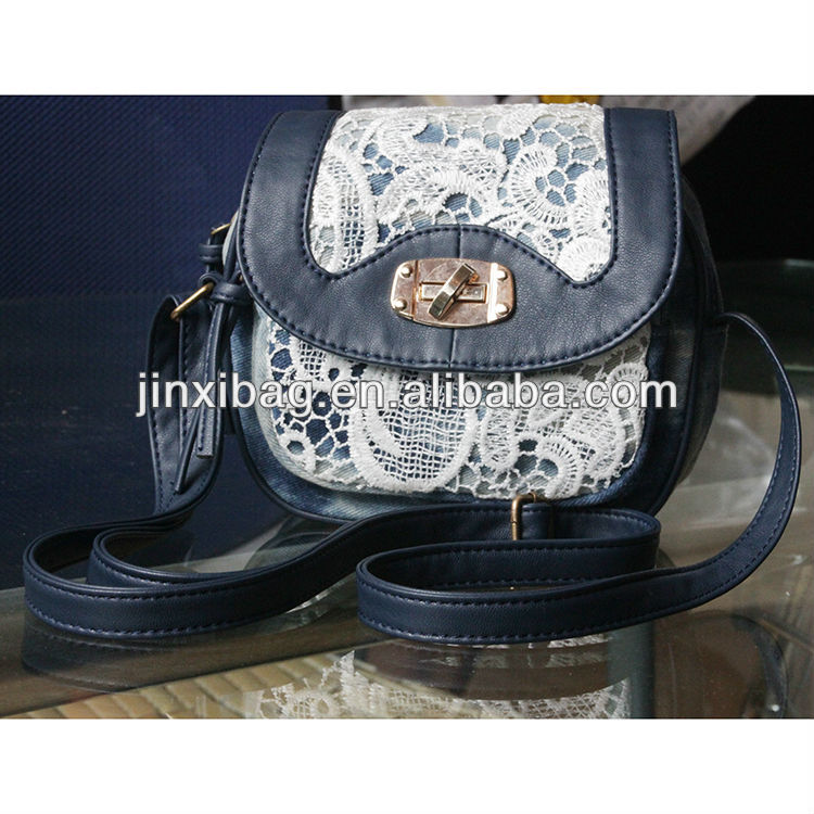 Cute white lace denim shoulder bag for girls