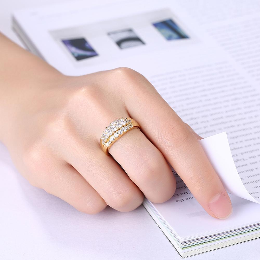 3 Layered New Design Cz Zircon New Design Gold Finger Ring For Women ...
