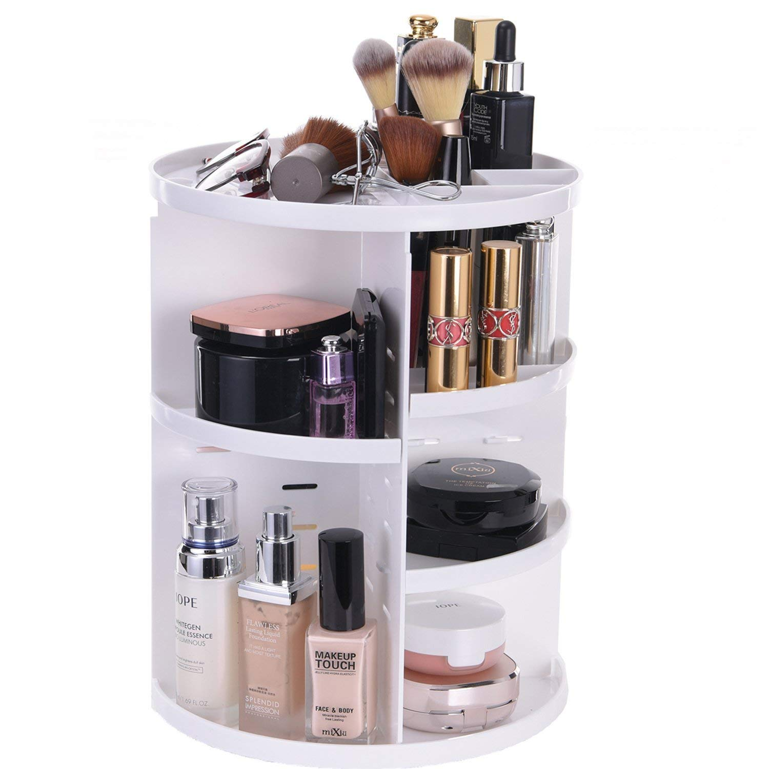 Get Quotations · googic 360-Degree Rotating Makeup Organizer Rotatable Removable Large Capacity Cosmetic Jewelry Storage Box Vanity