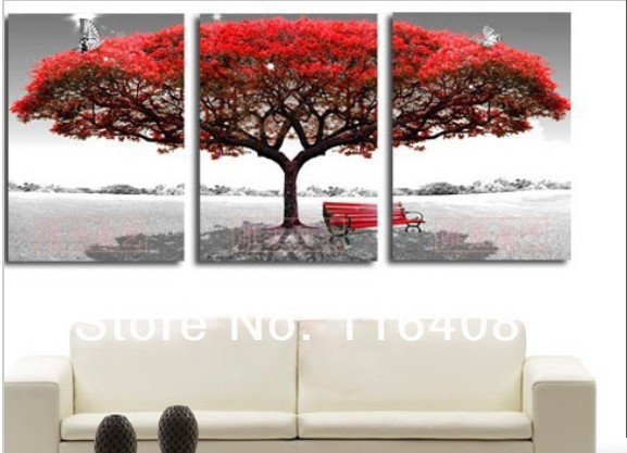 2014 Wholesale 3pcs Red White Tree paintings Modern Home Decoration Wall Art Oil Painting Abstract Natural scenery GiftS Picture