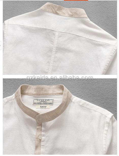New Pattern Banded Collar Linen Shirt Stand Collar Shirt