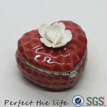 Ceramic Heart Jewelry box with ceramic flower on the lid