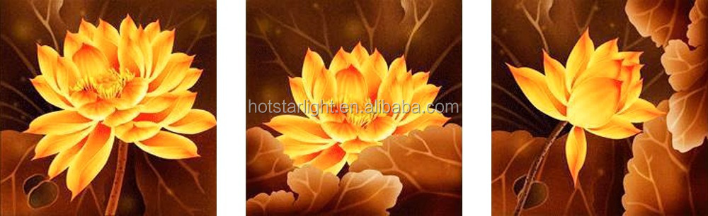 5D gold color 3pcs set lotus flower diamond painting by numbers