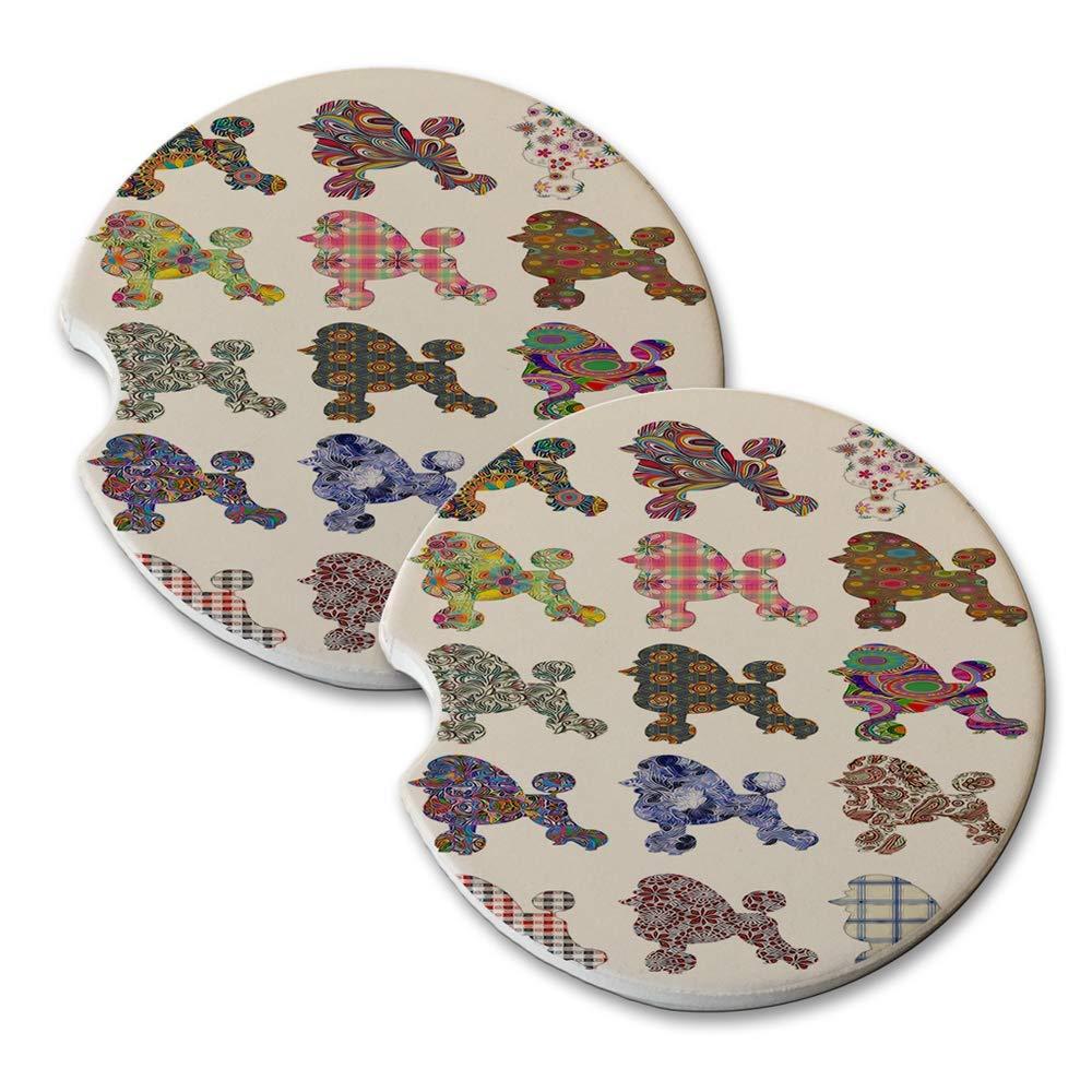 Standard Poodle Pattern - Absorbant Sandstone Car Drink Coaster Set (Set of 2 car Coasters)