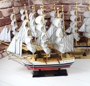33cm nautical ship model craft, wood handmade vintage sailboat model