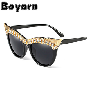 Boyarn Fashion Men Brand Designer Black Shades Diamond Cat Eye Sunglasses Women Small Retro Cheap Rhinestone Cat Eye Sunglasses