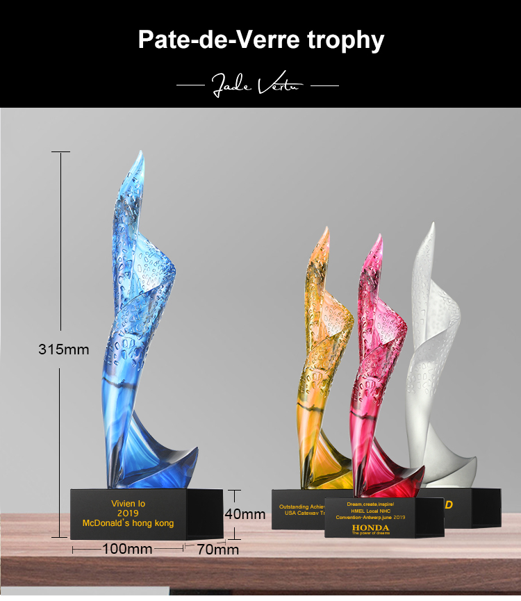 China creative liuli crystal trophy four color crystal trophy cup