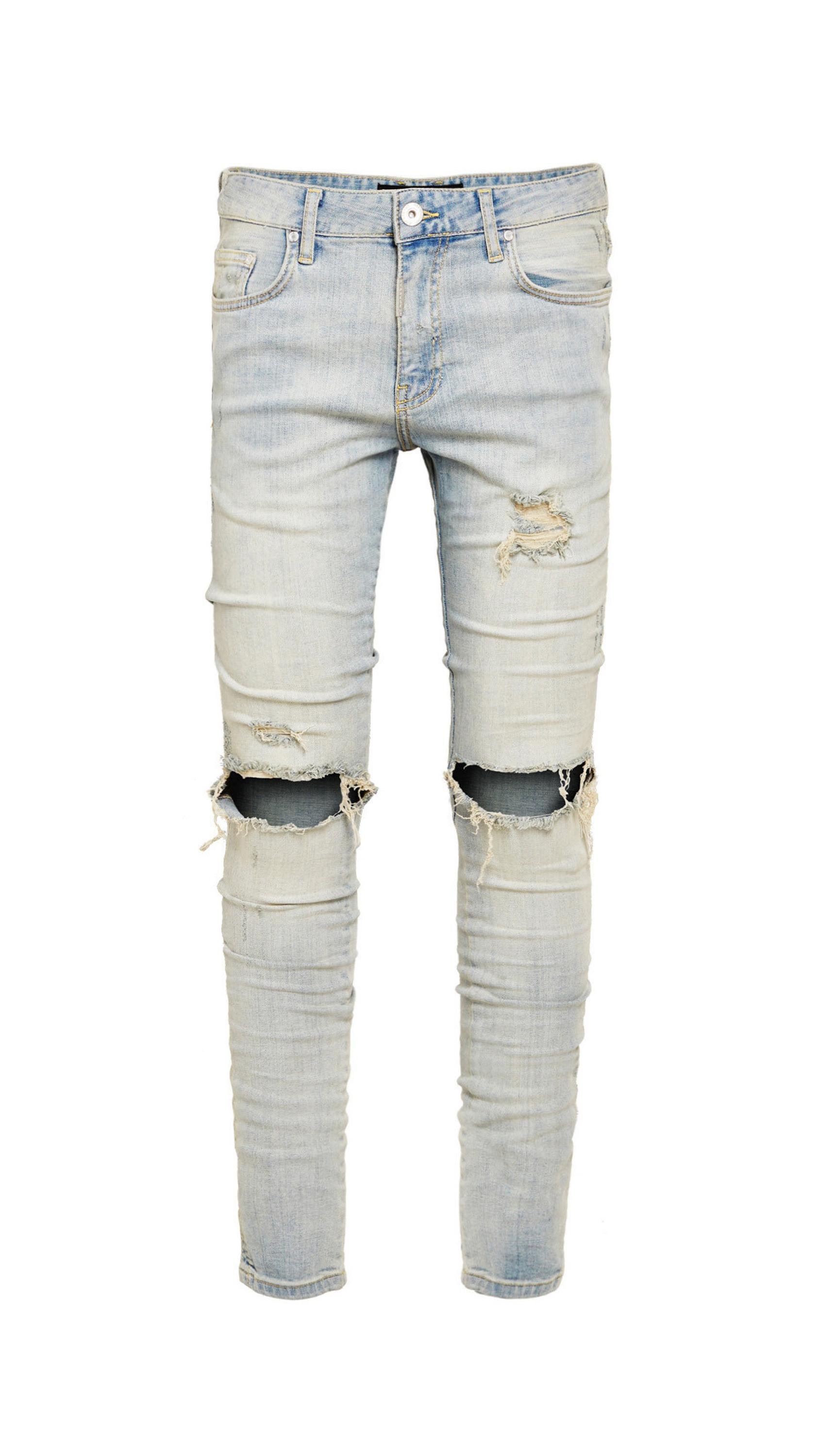 OEM  Destroyed stretch denim jeans rips skinny denim man jeans pant ripped jeans