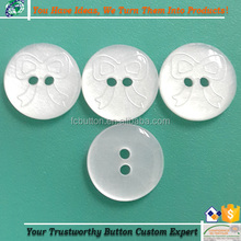 China Kids Garment Accessories Plastic Buttons 2 Holes Eco-friendly White Color Pattern-Engraved Resin Button Shirts Botones