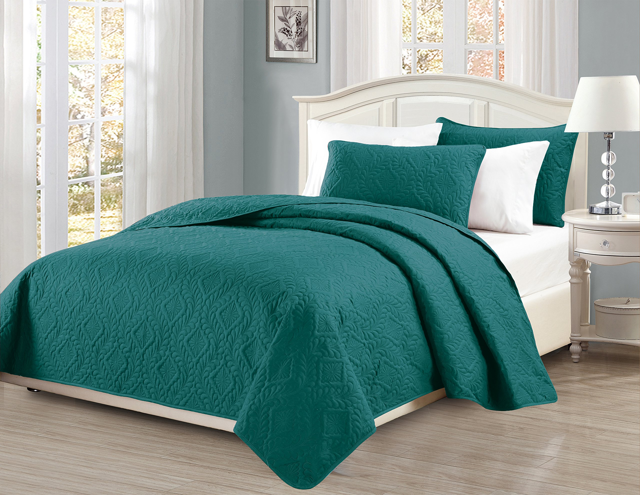 Fancy Collection 3pc King/California King Oversize Bedspread Coverlet Set Embossed Solid Turquoise New