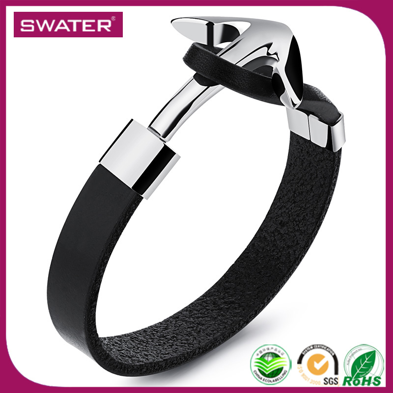 Wholesale Fashion Jewelry 2016 Stainless Steel Black Genuine Leather Mens Anchor Bracelets For Men