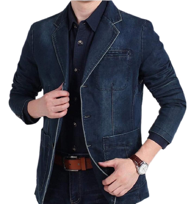 ONTBYB Mens Long Sleeve Lapel Single Breasted Denim Jacket
