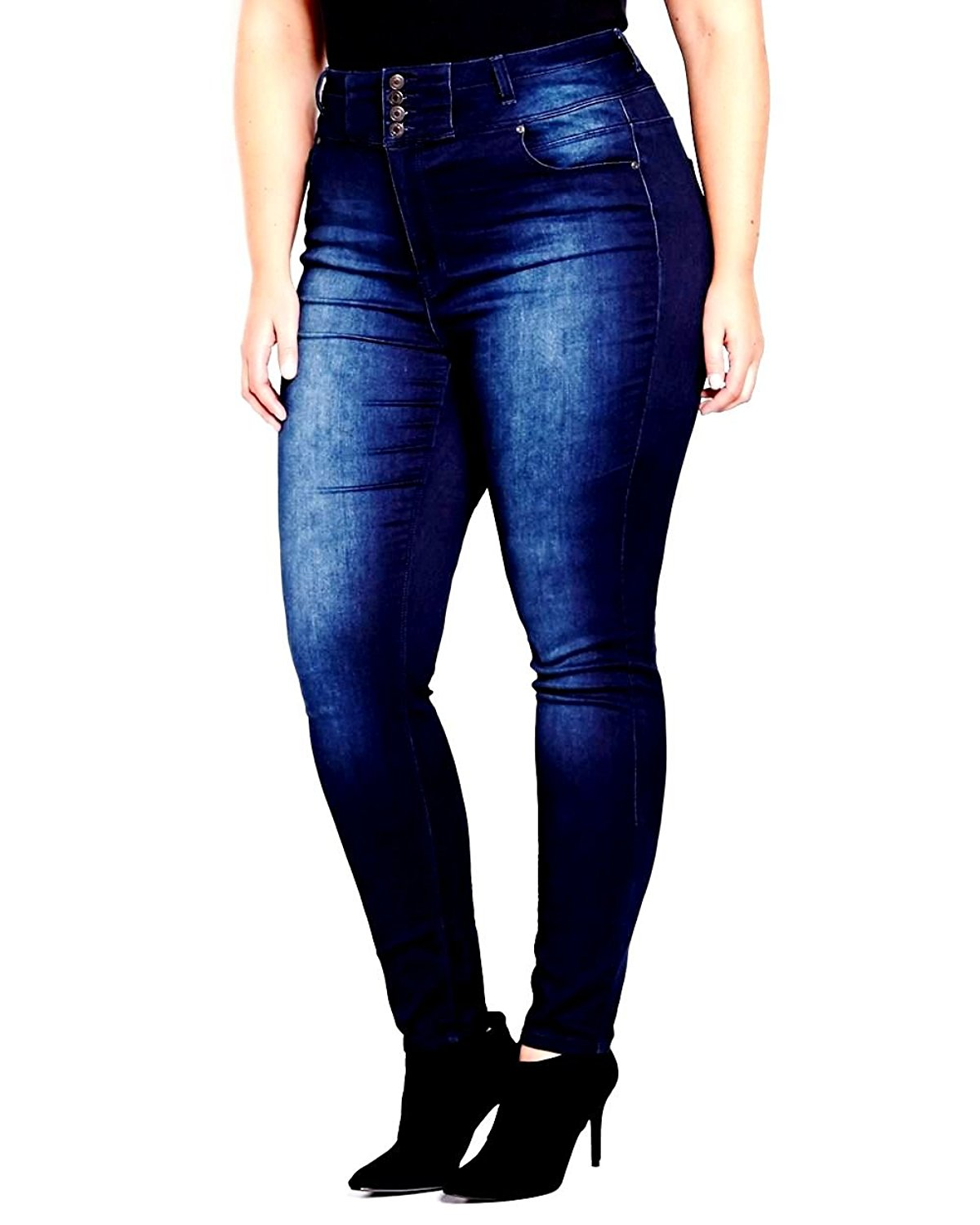 40d779919 Get Quotations · Jack David Womens Plus Size High Waisted Black/Blue Stretch  Skinny Denim Jeans Pants