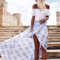 K1183A High Quality Custom Maxi Skirt Slik Like Sari Long Gypsy Skirts