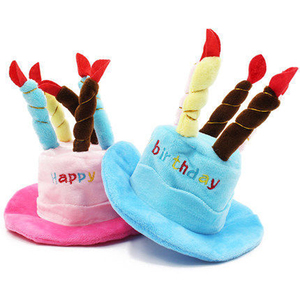 PCL033 2018 Wholesale Dog Apparel Birthday Cake Shaped Pet Hat With Red And Blue Colors Available,Pet Birthday Gifts