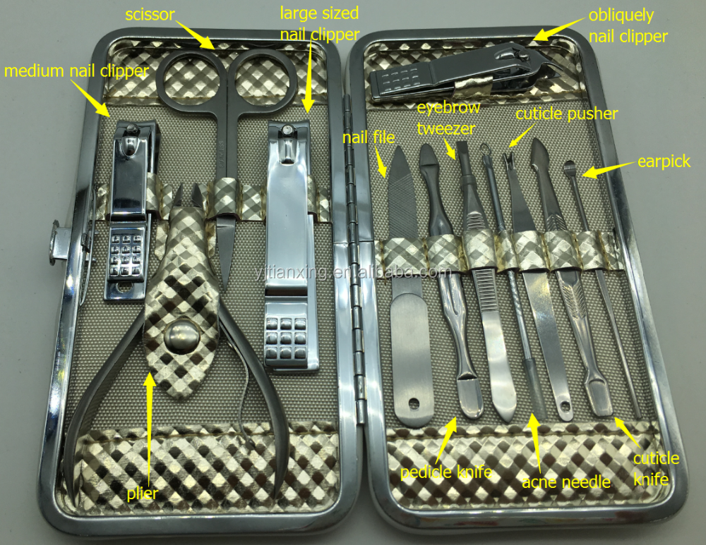 Promotional Gift MC059 High Quality Stainless Steel 12pcs Nail Manicure Pedicure Set