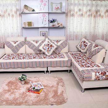 Corner Sofa Cover Cloth Lyj 05 Brown Peony
