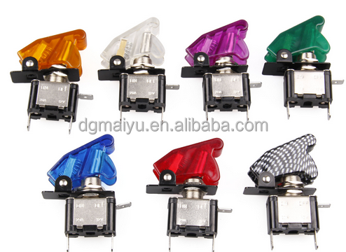Blue/Red/Green/Yellow/White 12V Carbon Fiber LED Rocker Toggle Switch SPST ON/OFF Car