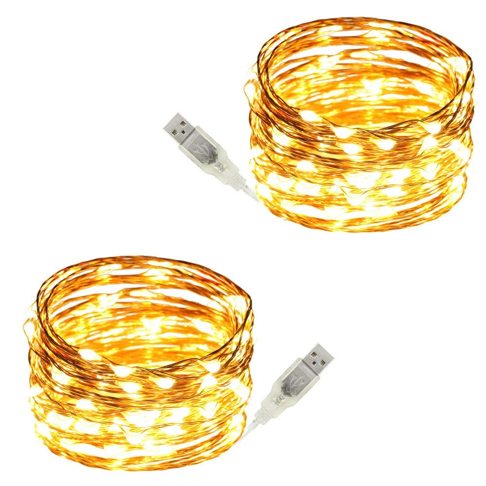 USB Led String Lights,ER CHEN(TM) 100 Leds 33Ft Waterproof Copper Wire String lights for Bedroom, Patio, Party, Wedding, Christmas Decorative Lights(Warm White,2-Pack)