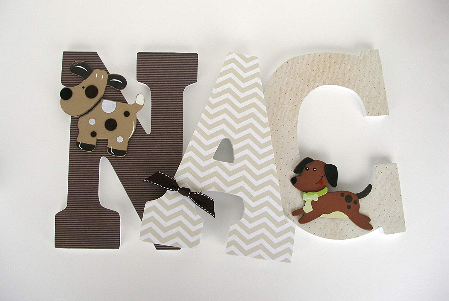 Brown And Cream Wood Letters Custom Nursery Name Decor Wooden Baby