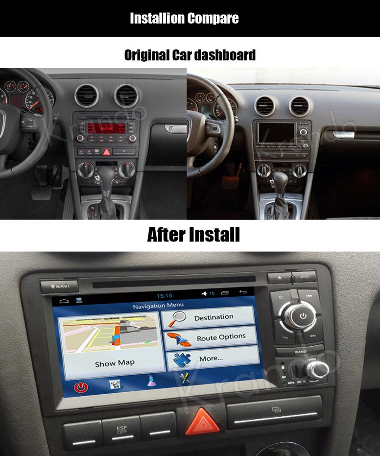 krando android audi a3 2003-2011 car radio gps dvd player navigation multimedia system _1