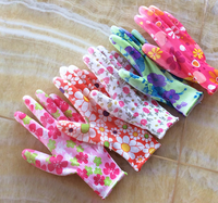 13g polyester liner palm coated pu work gloves flower sublimation printing gardening glove