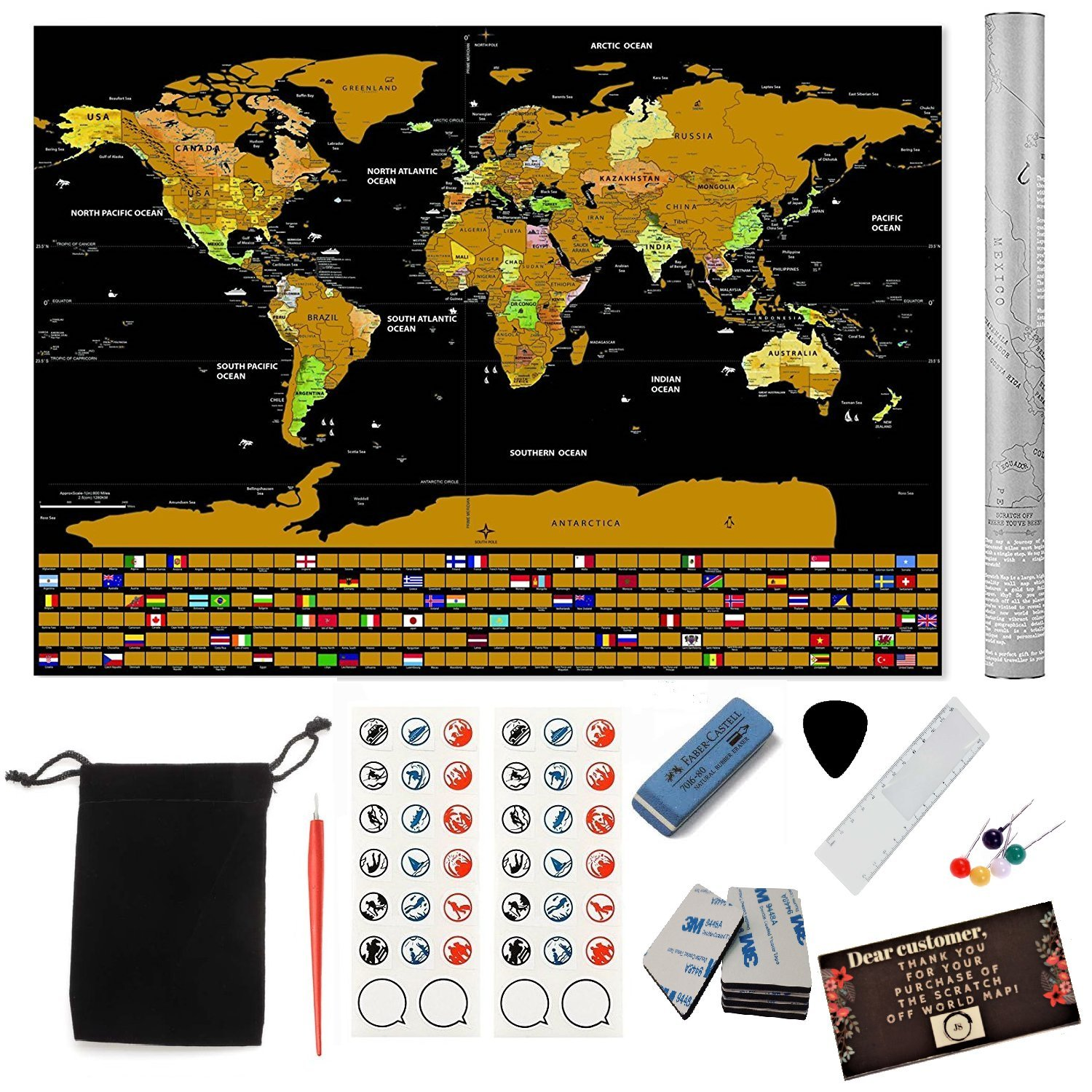 """2018 Deluxe Large Scratch Off Map of the World Poster 