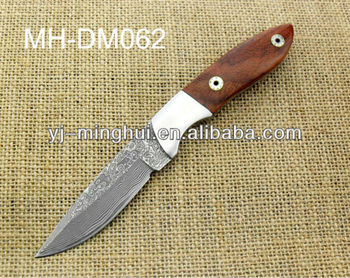 Damascus hunting knife with wood handle